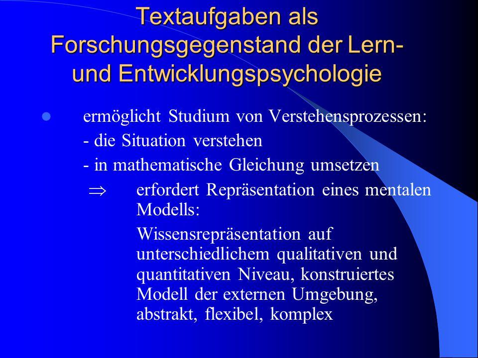 Textaufgaben als Forschungsgegenstand der Lern- und Entwicklungspsychologie