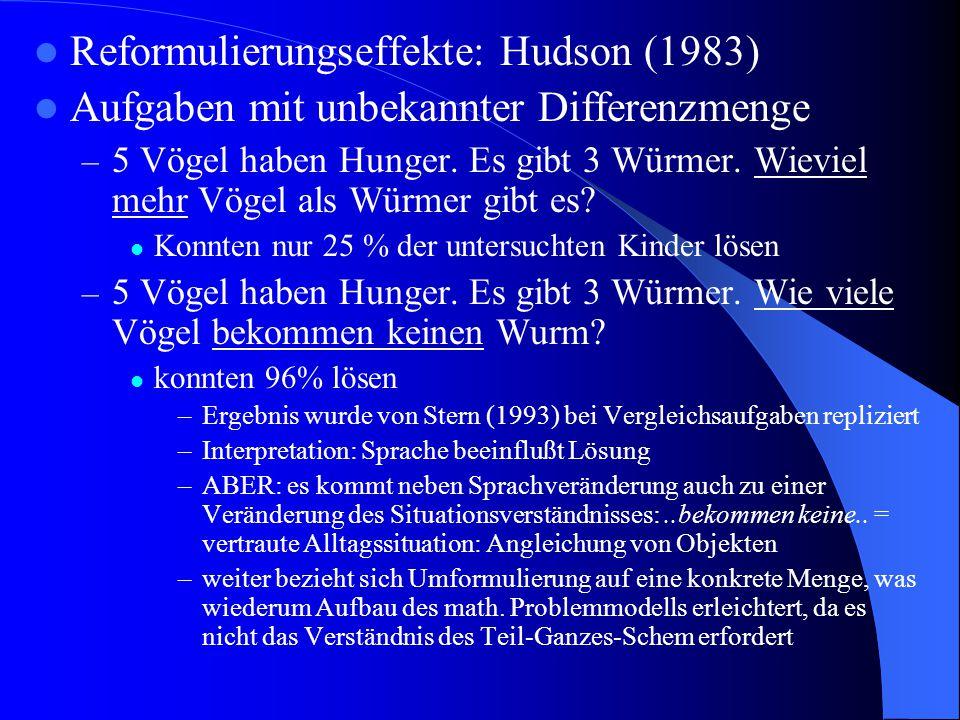 Reformulierungseffekte: Hudson (1983)