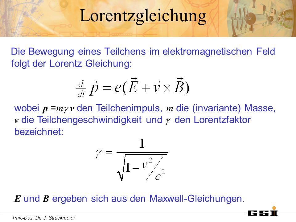 Lorentzgleichung Die Bewegung eines Teilchens im elektromagnetischen Feld folgt der Lorentz Gleichung: