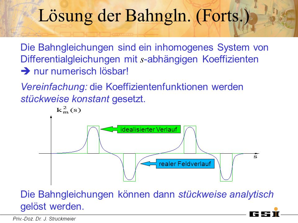 Lösung der Bahngln. (Forts.)