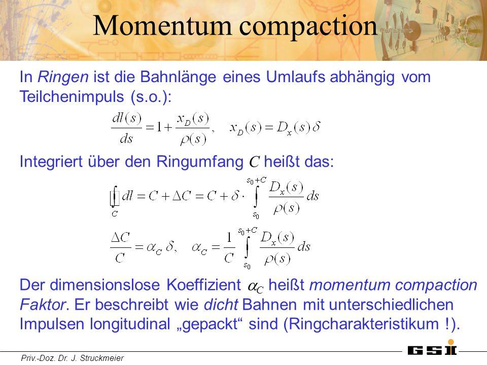 Momentum compaction In Ringen ist die Bahnlänge eines Umlaufs abhängig vom Teilchenimpuls (s.o.): Integriert über den Ringumfang C heißt das: