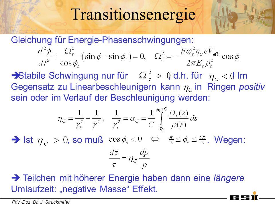 Transitionsenergie Gleichung für Energie-Phasenschwingungen: