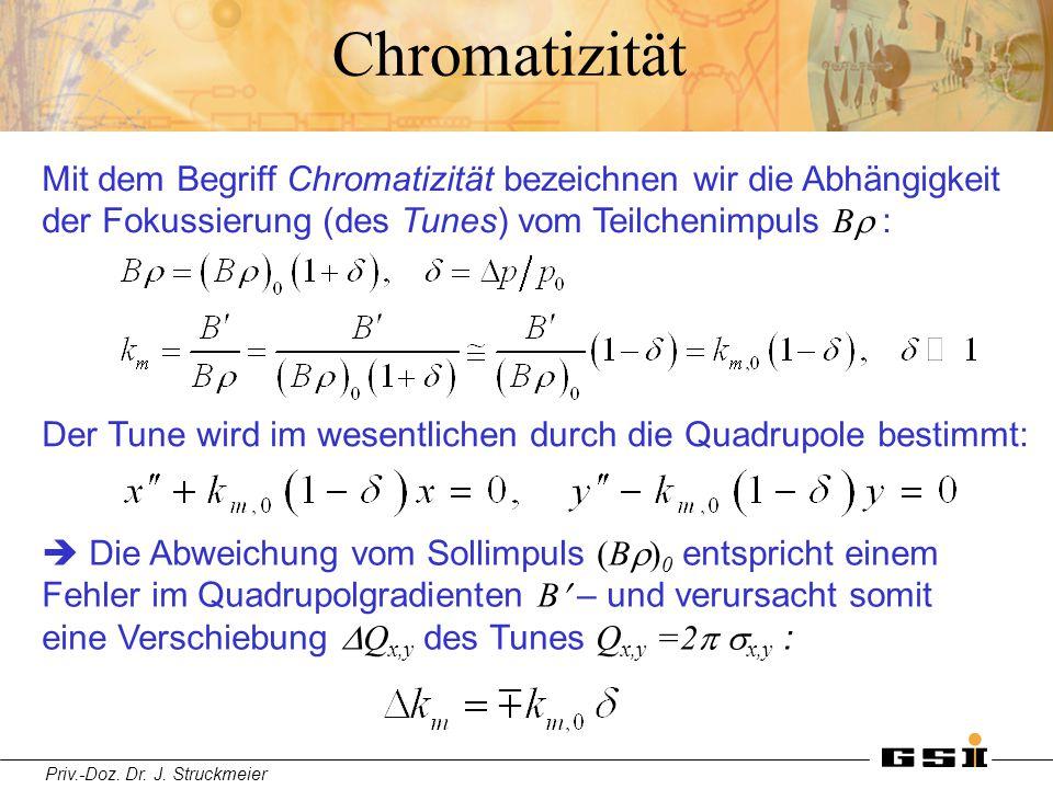 Chromatizität Mit dem Begriff Chromatizität bezeichnen wir die Abhängigkeit der Fokussierung (des Tunes) vom Teilchenimpuls Br :
