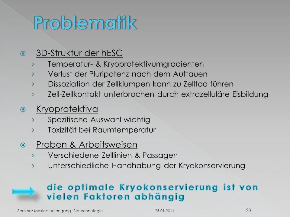Problematik 3D-Struktur der hESC Kryoprotektiva Proben & Arbeitsweisen