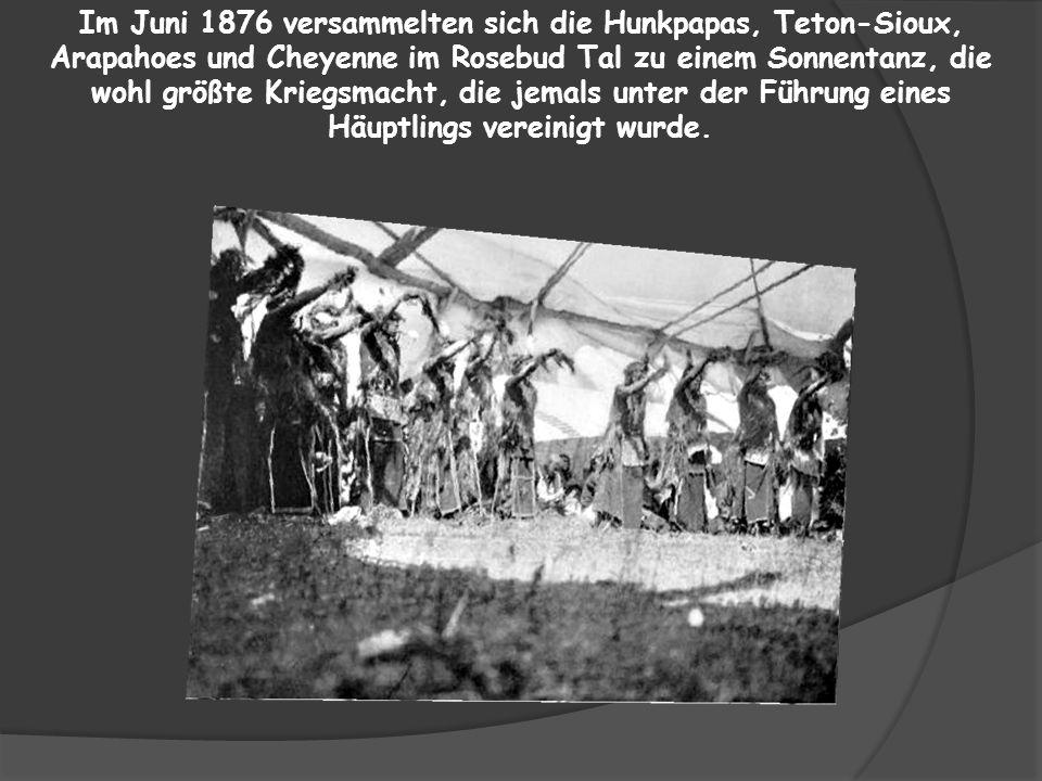Im Juni 1876 versammelten sich die Hunkpapas, Teton-Sioux, Arapahoes und Cheyenne im Rosebud Tal zu einem Sonnentanz, die wohl größte Kriegsmacht, die jemals unter der Führung eines Häuptlings vereinigt wurde.