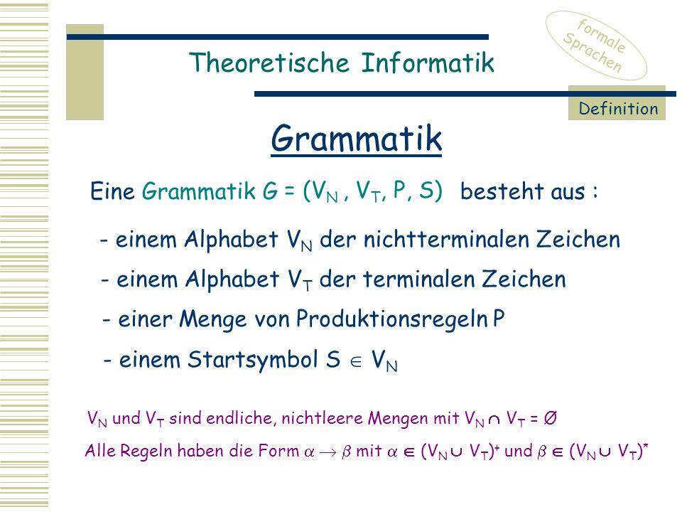 Grammatik Theoretische Informatik Eine Grammatik G besteht aus :