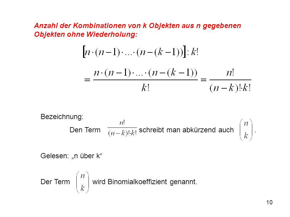 Anzahl der Kombinationen von k Objekten aus n gegebenen Objekten ohne Wiederholung: