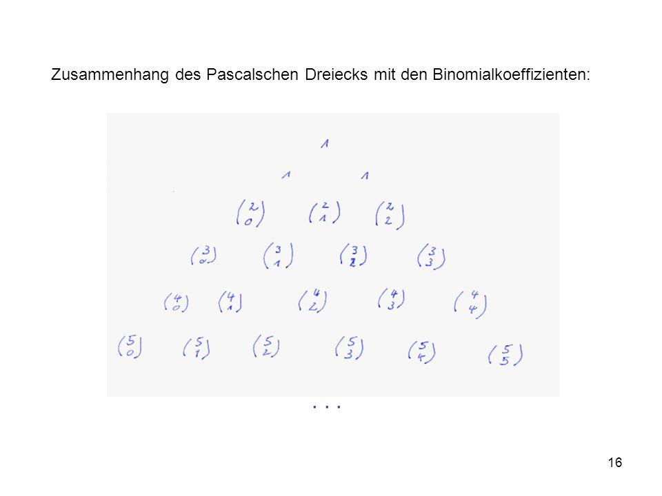 Zusammenhang des Pascalschen Dreiecks mit den Binomialkoeffizienten:
