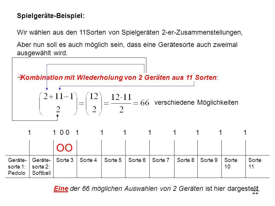 Spielgeräte-Beispiel: Wir wählen aus den 11Sorten von Spielgeräten 2-er-Zusammenstellungen,