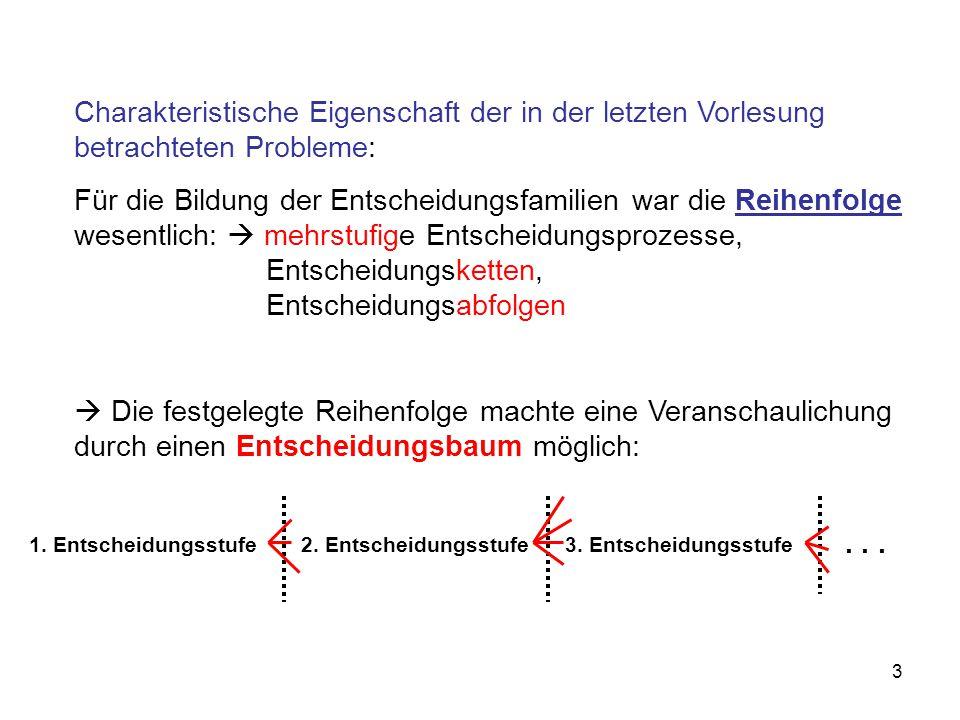 Charakteristische Eigenschaft der in der letzten Vorlesung betrachteten Probleme: