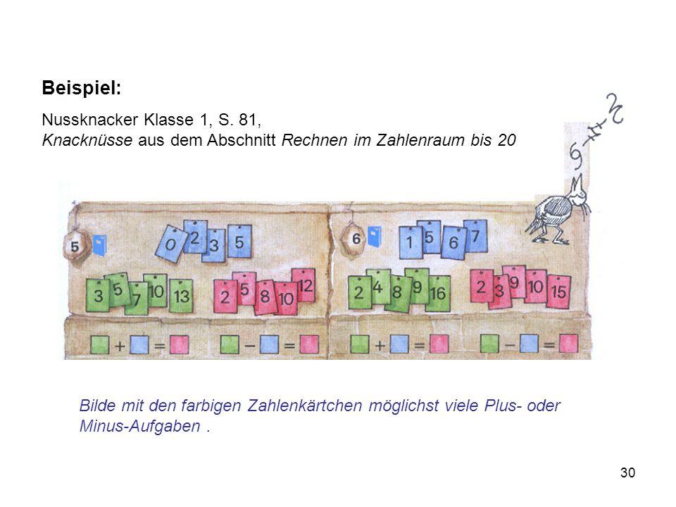 Beispiel: Nussknacker Klasse 1, S. 81, Knacknüsse aus dem Abschnitt Rechnen im Zahlenraum bis 20.