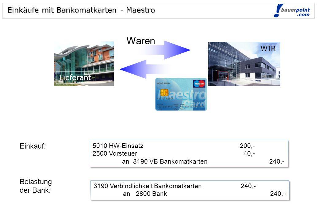 Waren Einkäufe mit Bankomatkarten - Maestro WIR Lieferant Einkauf: