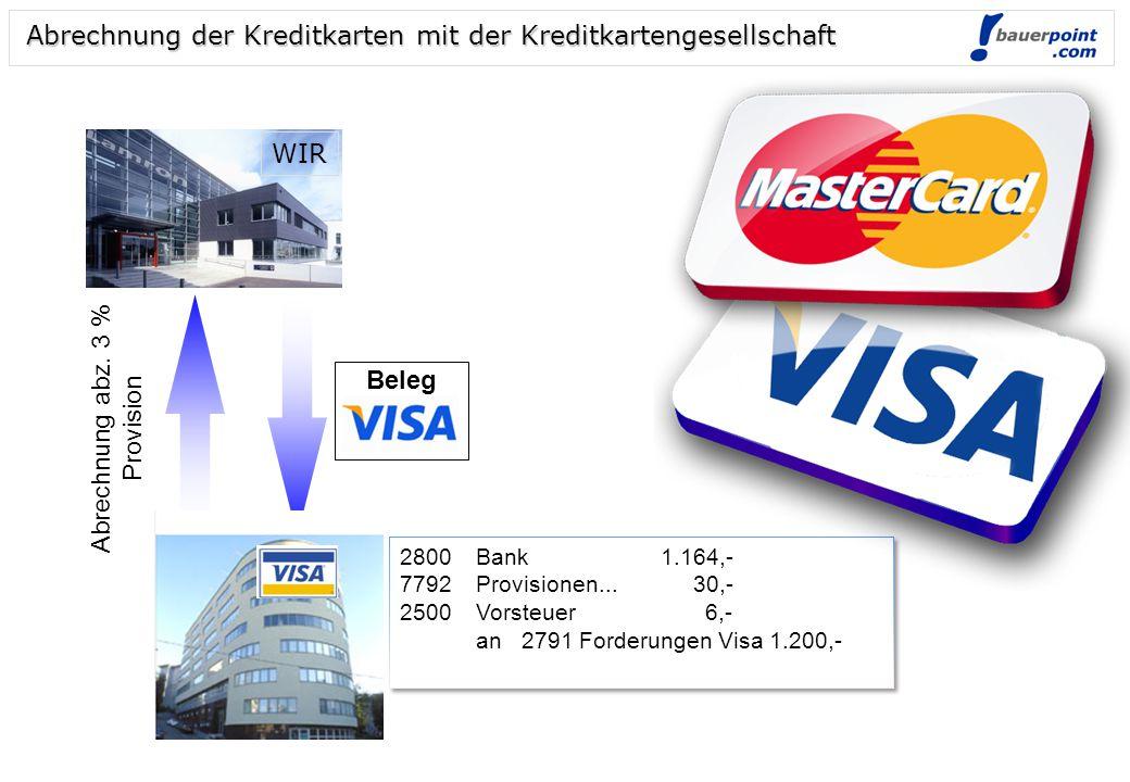 Abrechnung der Kreditkarten mit der Kreditkartengesellschaft