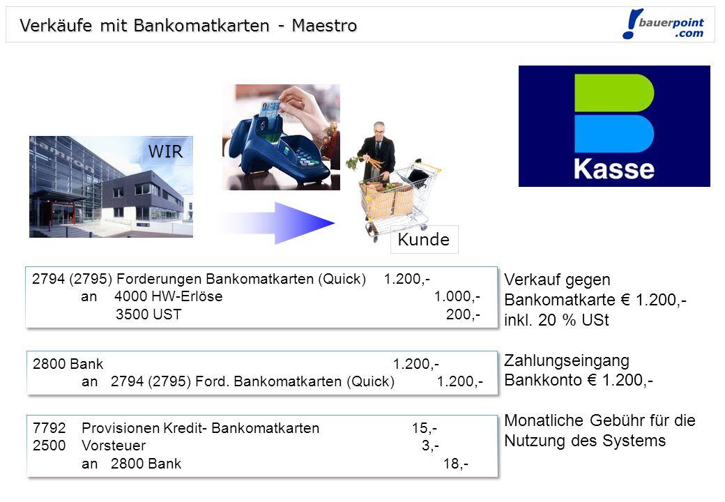 Verkäufe mit Bankomatkarten - Maestro