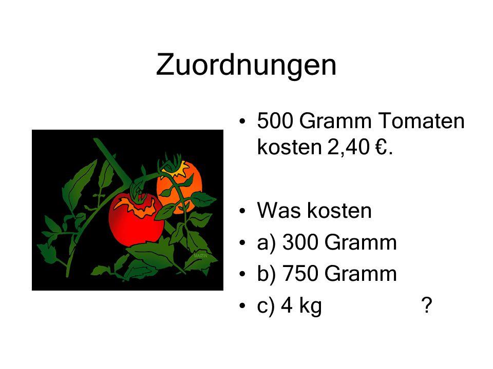 Zuordnungen 500 Gramm Tomaten kosten 2,40 €. Was kosten a) 300 Gramm
