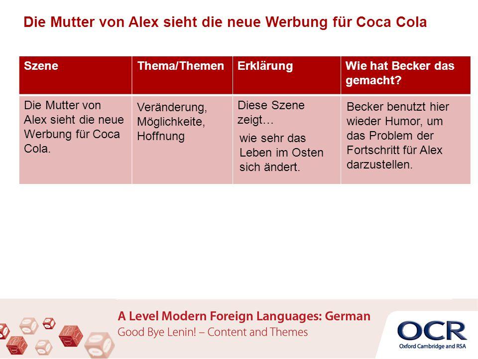 Die Mutter von Alex sieht die neue Werbung für Coca Cola