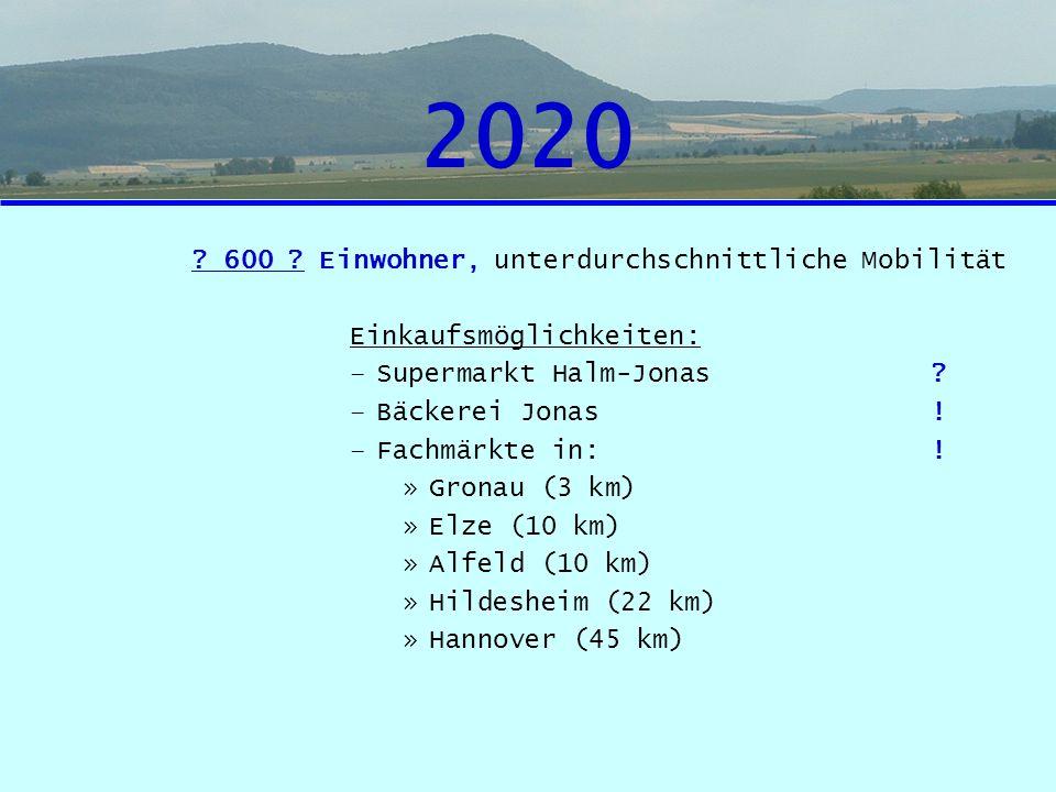 2020 600 Einwohner, unterdurchschnittliche Mobilität