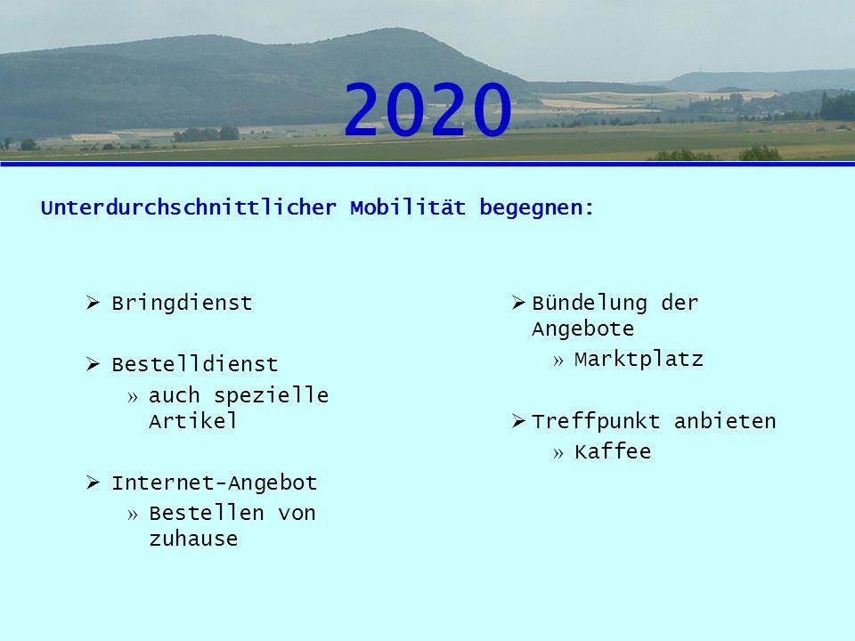 2020 Unterdurchschnittlicher Mobilität begegnen: Bringdienst