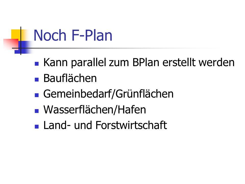 Noch F-Plan Kann parallel zum BPlan erstellt werden Bauflächen