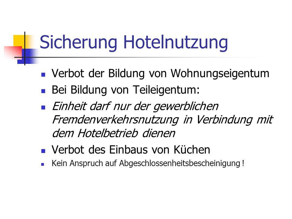 Sicherung Hotelnutzung