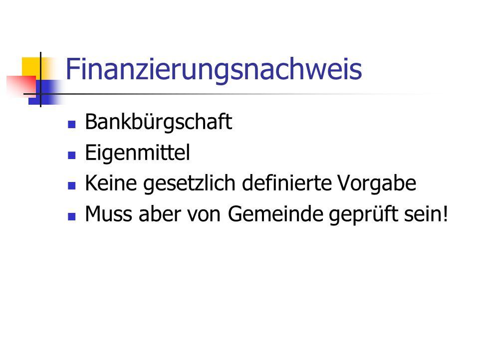 Finanzierungsnachweis