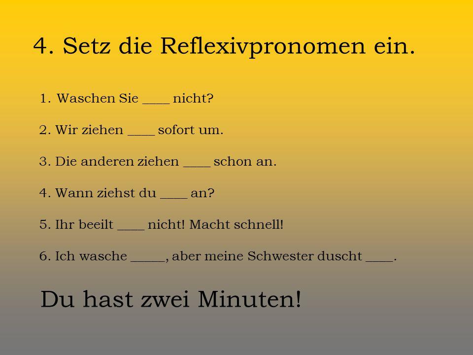 4. Setz die Reflexivpronomen ein.