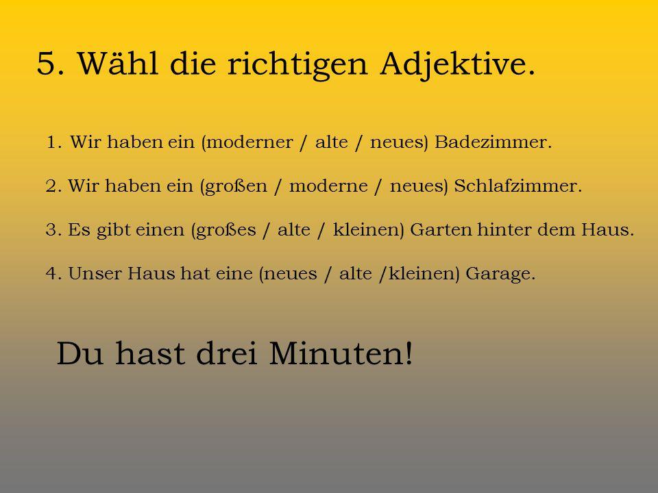 5. Wähl die richtigen Adjektive.