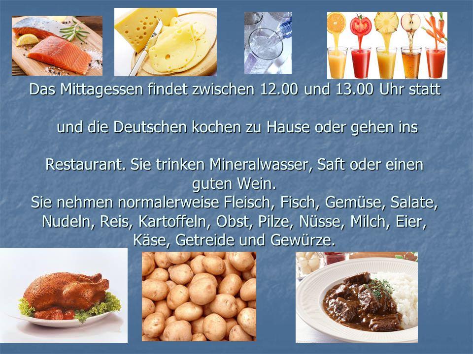 Das Mittagessen findet zwischen 12. 00 und 13