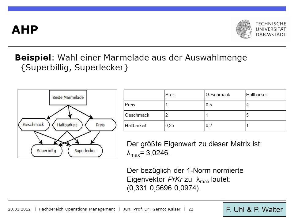 AHP Beispiel: Wahl einer Marmelade aus der Auswahlmenge {Superbillig, Superlecker} Preis. Geschmack.