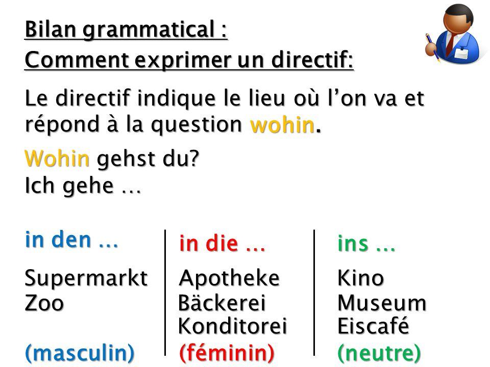 Bilan grammatical : Comment exprimer un directif: Le directif indique le lieu où l'on va et répond à la question.