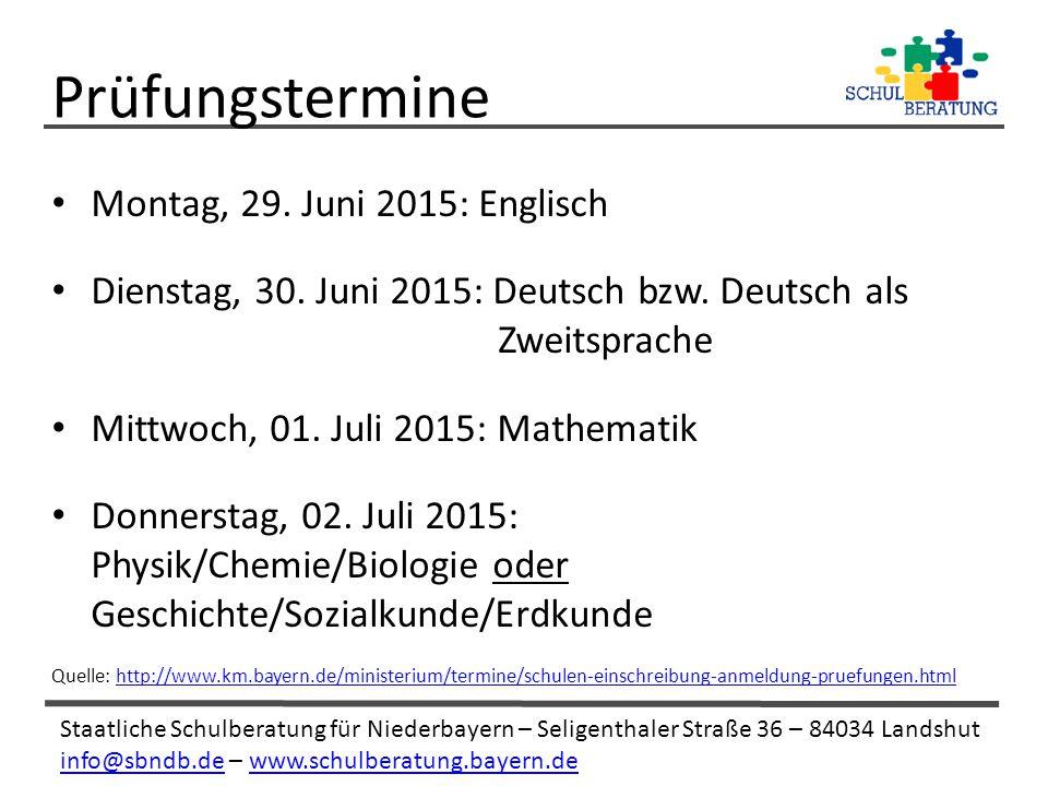 Prüfungstermine Montag, 29. Juni 2015: Englisch