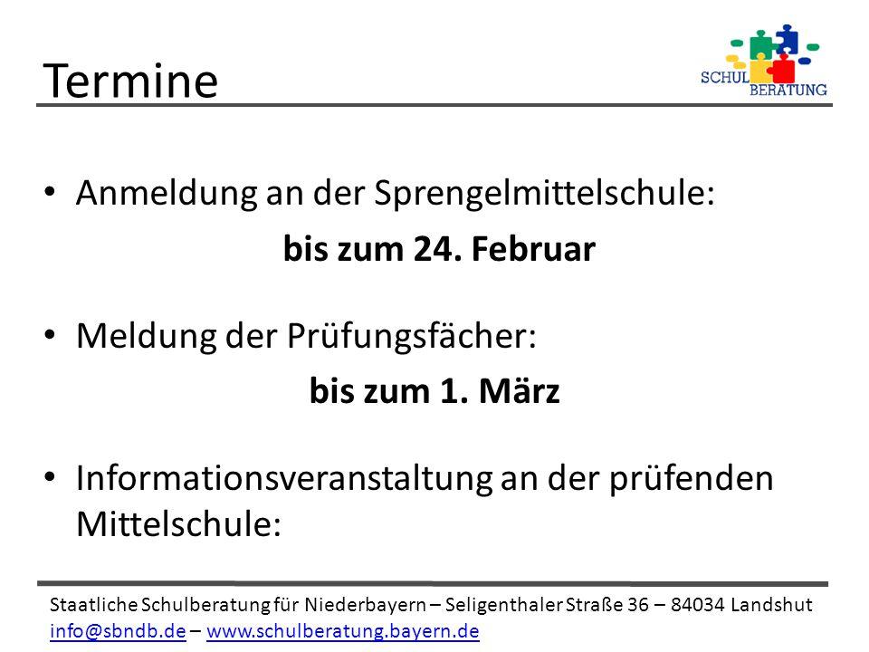 Termine Anmeldung an der Sprengelmittelschule: bis zum 24. Februar