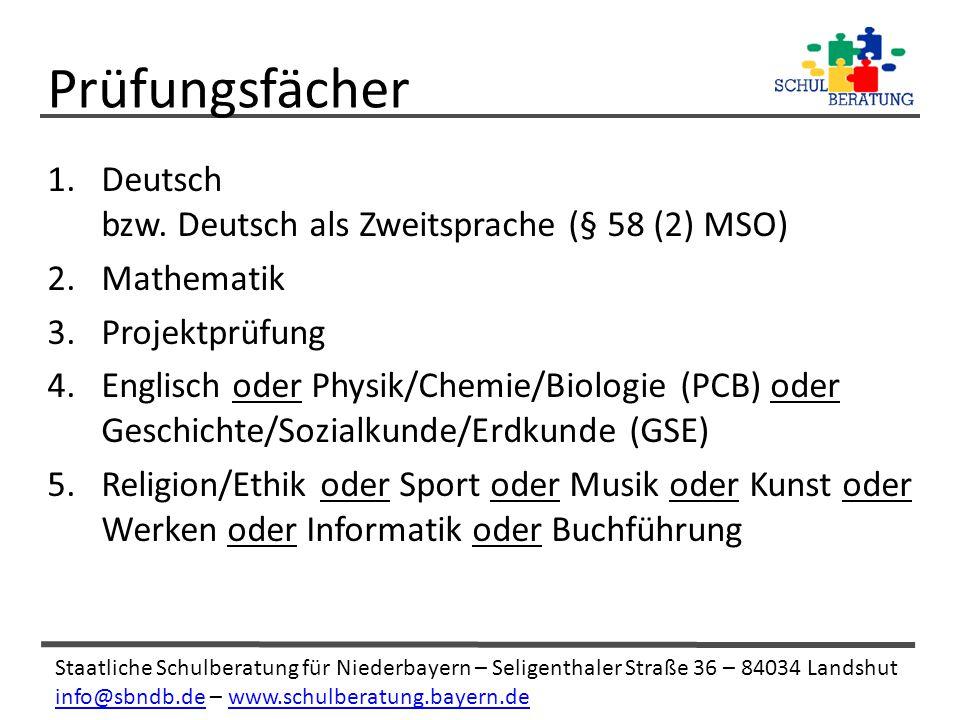 Prüfungsfächer Deutsch bzw. Deutsch als Zweitsprache (§ 58 (2) MSO)