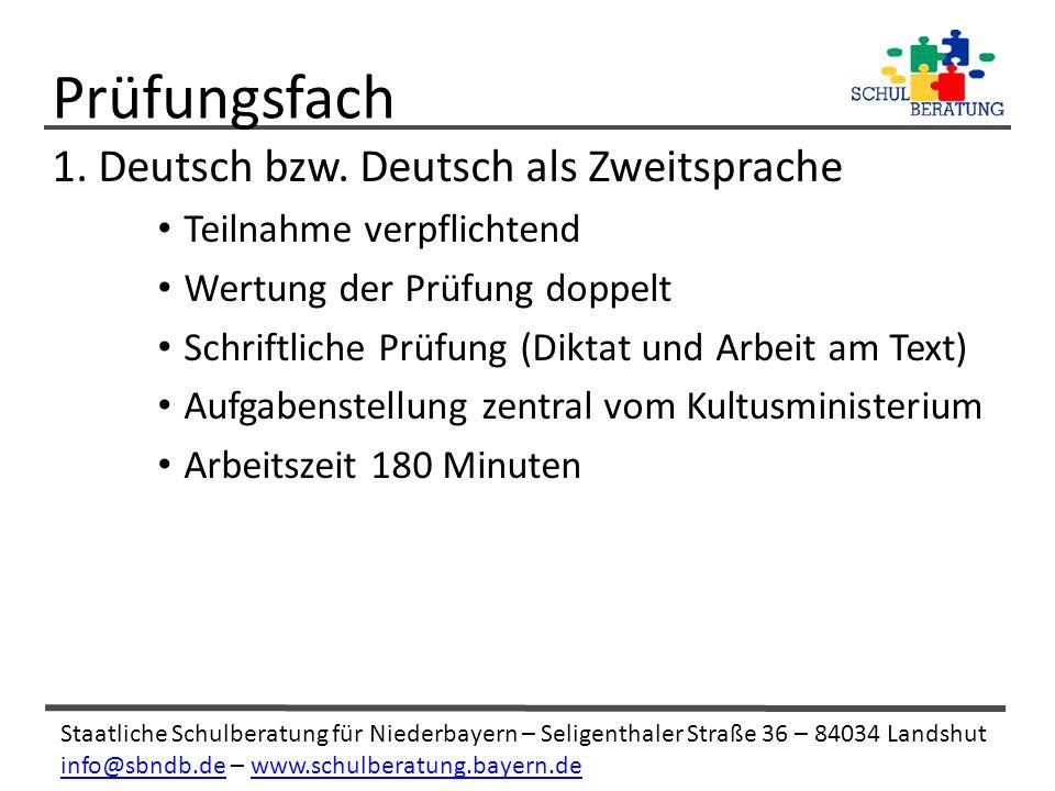 Prüfungsfach 1. Deutsch bzw. Deutsch als Zweitsprache