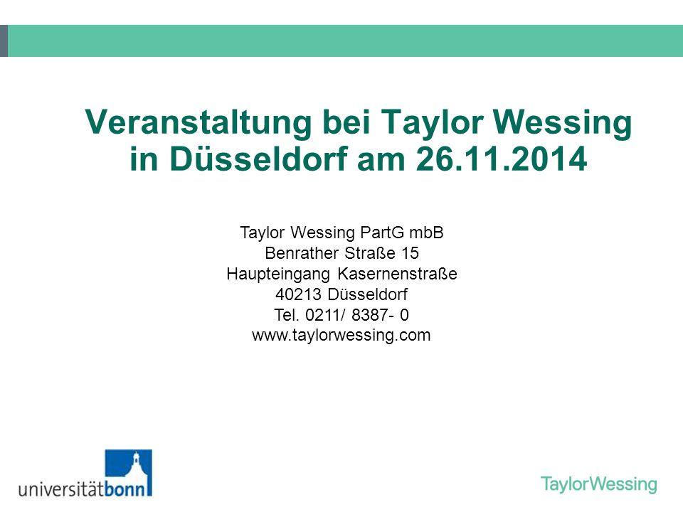 Veranstaltung bei Taylor Wessing in Düsseldorf am 26.11.2014