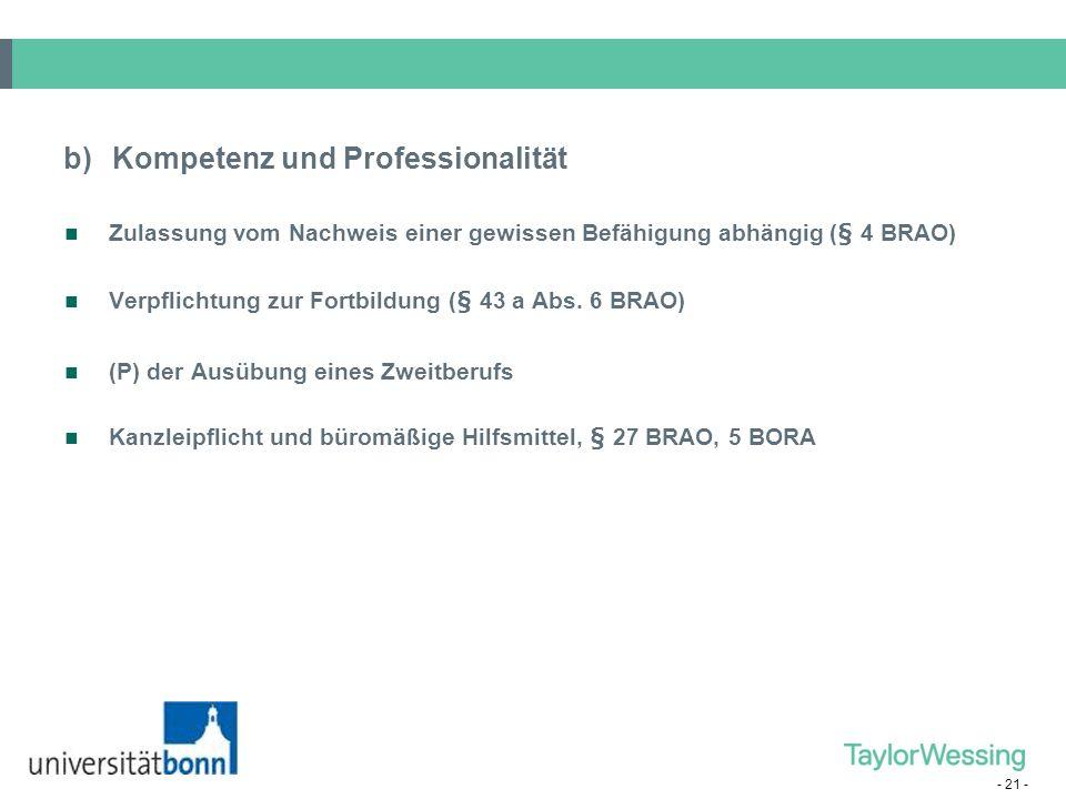 b) Kompetenz und Professionalität