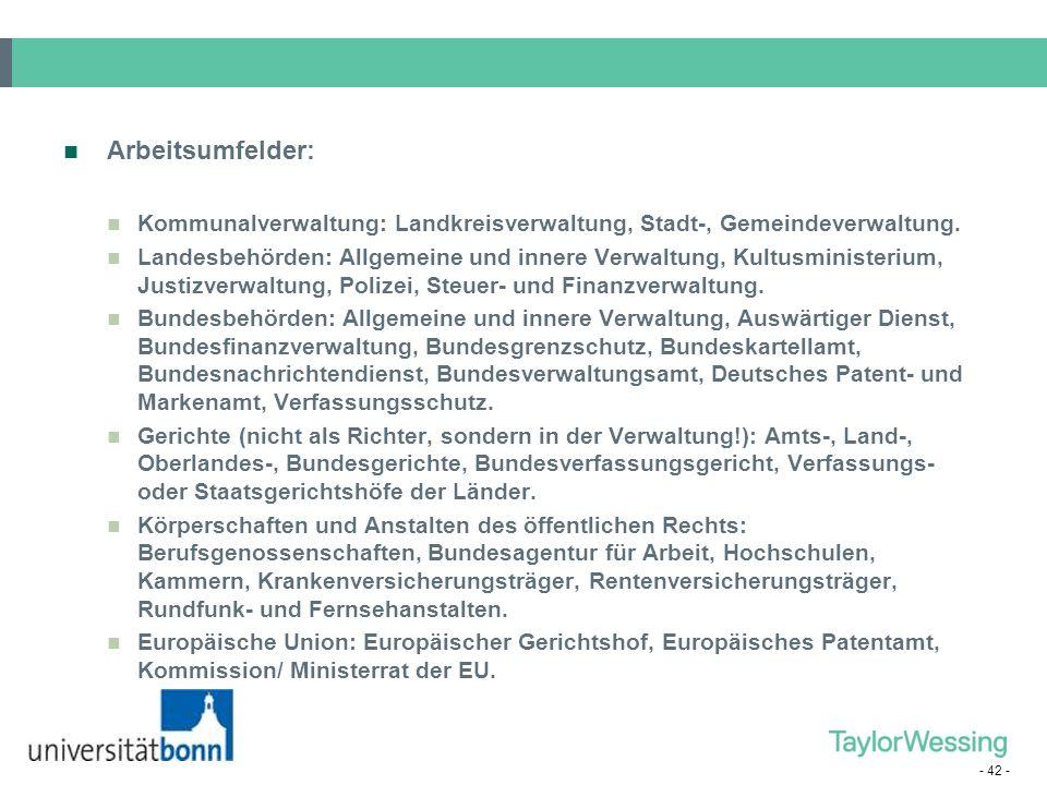 Arbeitsumfelder: Kommunalverwaltung: Landkreisverwaltung, Stadt-, Gemeindeverwaltung.