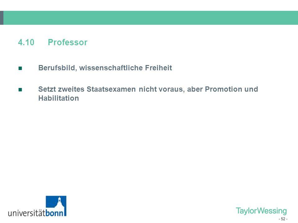 4.10 Professor Berufsbild, wissenschaftliche Freiheit