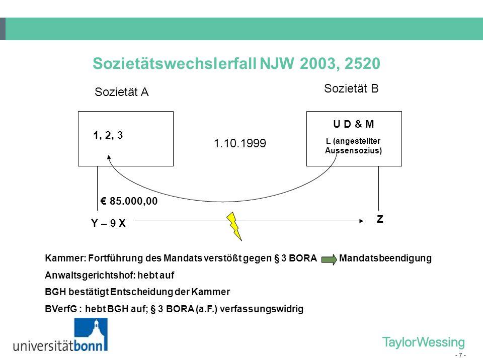 Sozietätswechslerfall NJW 2003, 2520