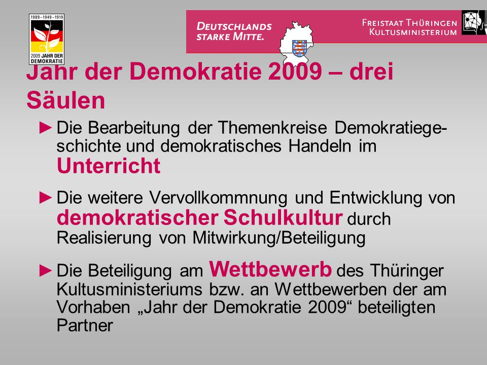 Jahr der Demokratie 2009 – drei Säulen