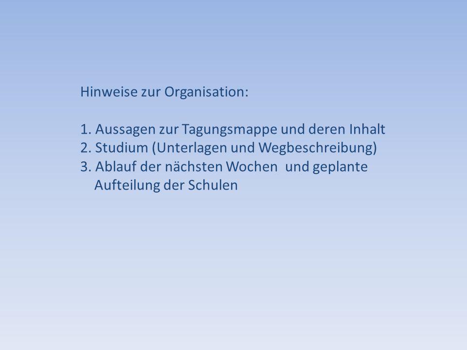 Hinweise zur Organisation: