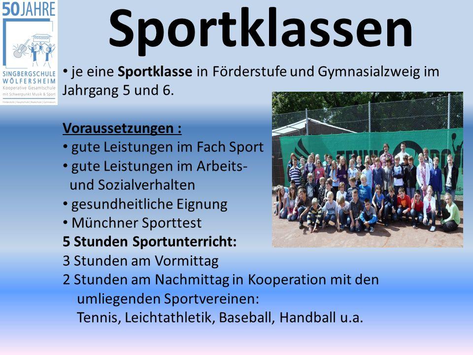 Sportklassen je eine Sportklasse in Förderstufe und Gymnasialzweig im Jahrgang 5 und 6. Voraussetzungen :