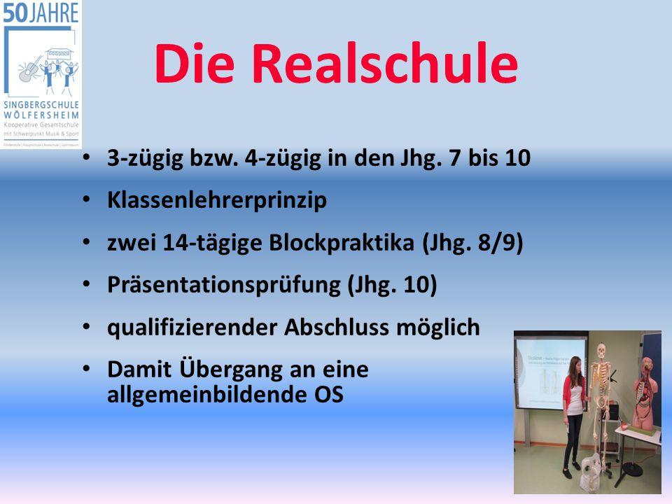 Die Realschule 3-zügig bzw. 4-zügig in den Jhg. 7 bis 10
