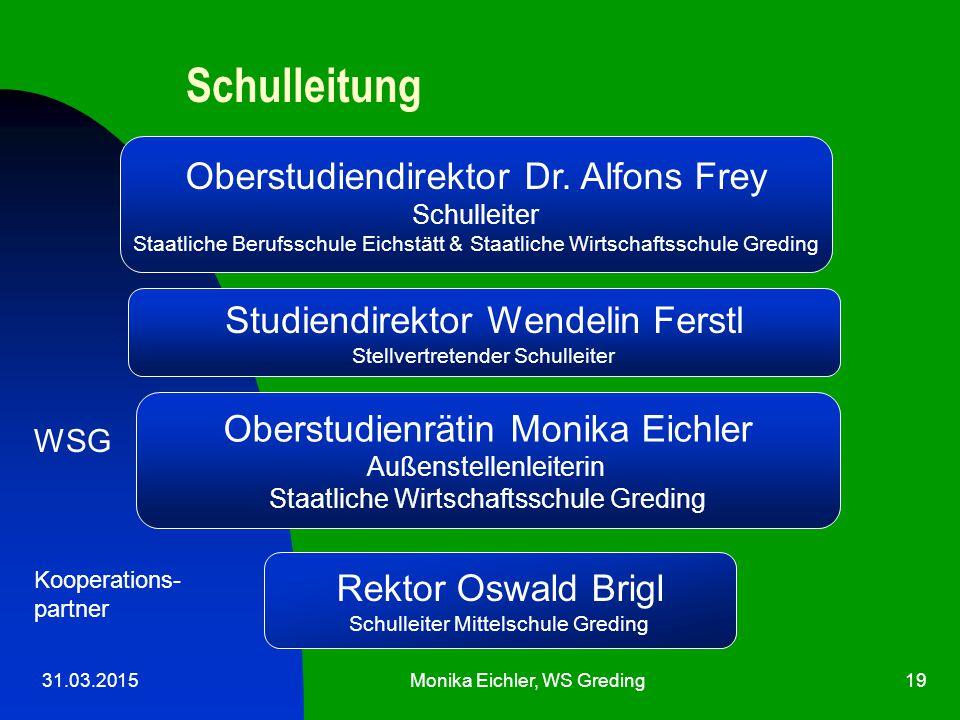 Schulleitung Oberstudiendirektor Dr. Alfons Frey