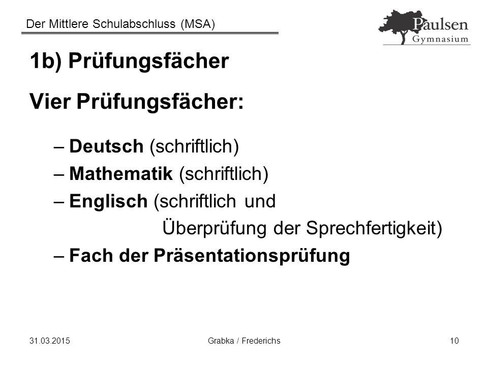 1b) Prüfungsfächer Vier Prüfungsfächer: Deutsch (schriftlich)
