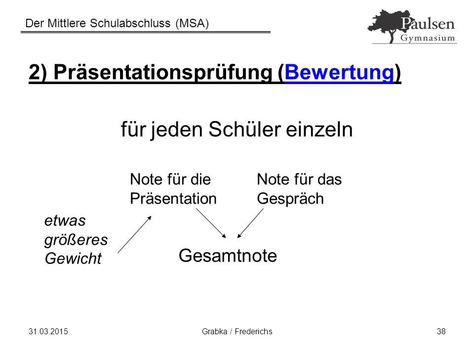 2) Präsentationsprüfung (Bewertung)