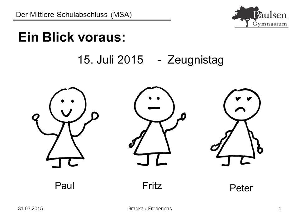 Ein Blick voraus: 15. Juli 2015 - Zeugnistag Paul Fritz Peter