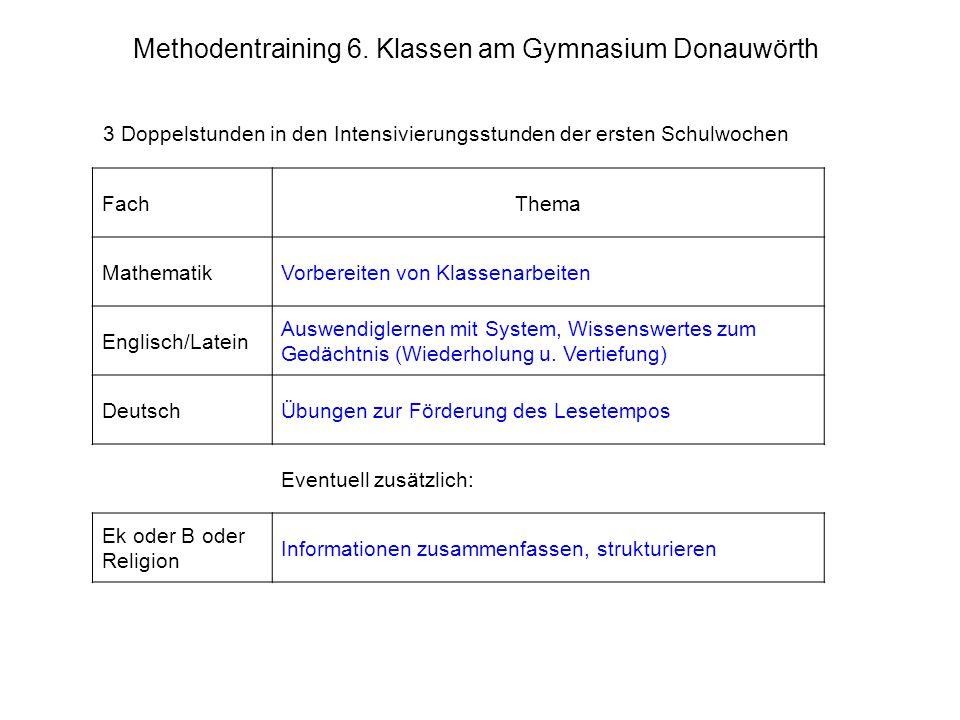 Methodentraining 6. Klassen am Gymnasium Donauwörth