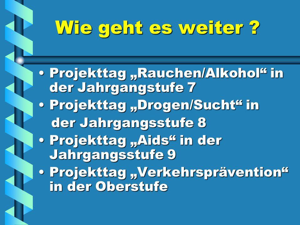 """Wie geht es weiter Projekttag """"Rauchen/Alkohol in der Jahrgangstufe 7. Projekttag """"Drogen/Sucht in."""