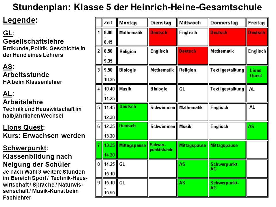 Stundenplan: Klasse 5 der Heinrich-Heine-Gesamtschule